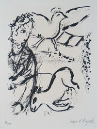 chagall david, geit en vogel 1956