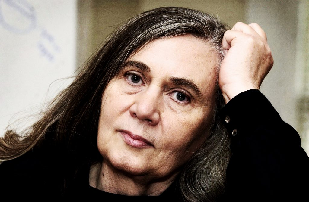 """**FILE** Author Marilynne Robinson speaks during an interview, Nov. 9, 2004, in Iowa City, Iowa. Her """"Gilead,"""" a poetic, modern-day tale of a dying Iowa preacher, won the Pulitzer Prize for fiction Monday, April 4, 2005. (AP Photo/Charlie Neibergall)"""